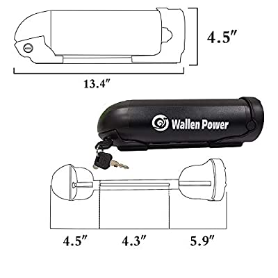 Wallenpower Ebike Battery 36V 10AH Water Bottle Battery Kettle Electric Lithium Battery with 42V 2A Charger Battery Level Light 20A BMS Protection Board for 500W Motor Black: Home Audio & Theater