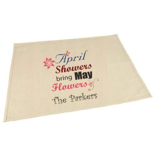 Personalized Custom April Shower's Bring May Flowers Cotton Canvas Placemat