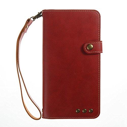 YAJIE-Carcasa Funda Para Huawei Nova 2 Plus / Nova2 Plus [Imán fuerte] Lujo Retro Premium PU Funda de cuero Flip Funda protectora con correa para la muñeca ( Color : Dark Blue ) Red