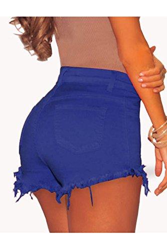 Donne Breve Casual Stretti Blue Jeans Le Pulsante Di Nappe Estate Hot Pantaloncini RdwRBqa