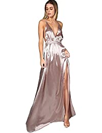 Womens Sexy Satin Deep V Neck Backless Maxi Party Evening Dress