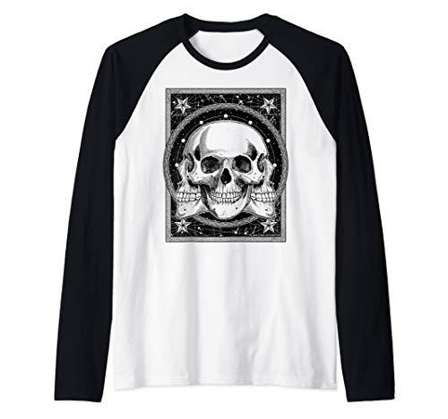 (Trinity Skull Drawing Oddities Spooky Halloween Raglan Baseball)