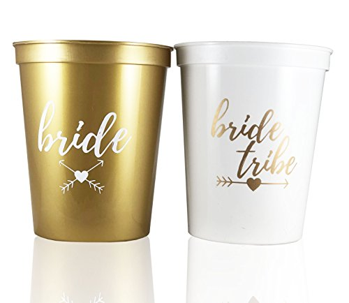 #glamist Bride Tribe Cups - White & Gold 16 oz Plastic Cup Set for Weddings, Bridal Showers, Engagement & Bachelorette Parties