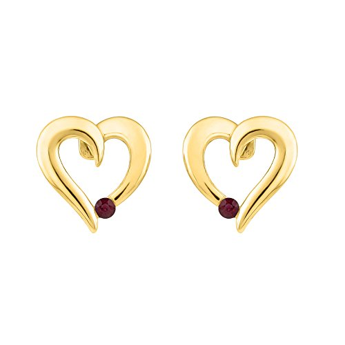 Diamond & Ruby Earrings (Ruby Diamond Heart Earrings in 10K Yellow Gold (1/10 cttw))