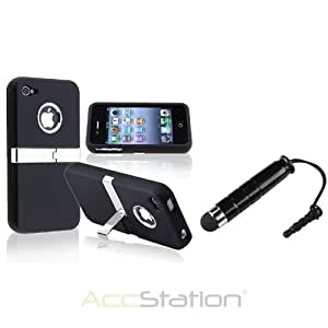 Black Chrome with Stand Case Cover For iPhone 4 4G 4GS Verizon ATT+ Stylus Pen