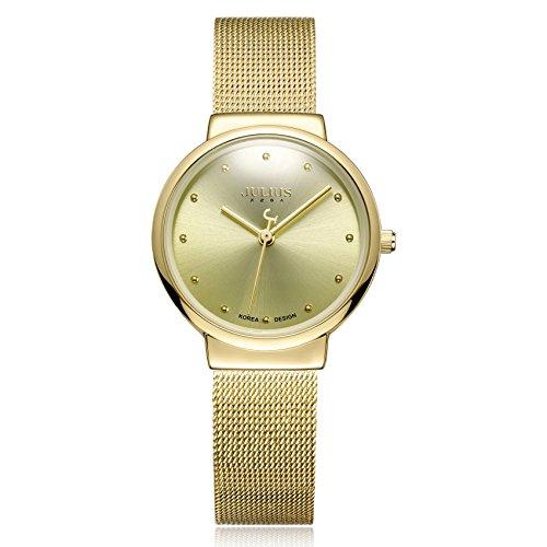 JULIUS JA-426 Female Women's Ultra Thin Gold Mesh Stainless Steel Quartz Analog Fashion Casual Watch