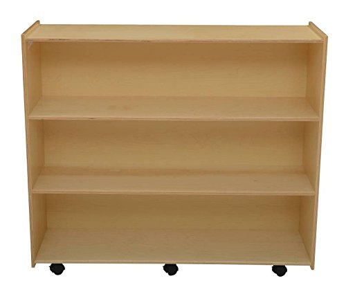 Childcraft 1301524 Mobile Open Shelving Unit, Birch Veneer Panel, 4-Coat UV Acrylic, 42'' x 48'' x 14-1/2'', Natural Wood Tone