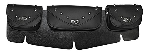 Black Studded Motorcycle Windshield Bag Triple Compartment (Pvc Windshield Bag)