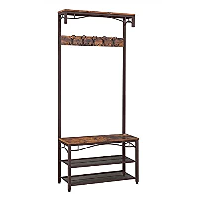VASAGLE Industrial Coat Rack, 3-in-1 Hall Tree, Entryway Shoe Bench Accent Furniture Metal Frame Large Size UHSR45AX, Rustic Brown (Renewed) - WELCOMES YOU HOME: Eliminate the mess in your hallway with this smart coat shoe rack; perfect balance of clean lines, modern elegance and effortlessly rustic appeal EVERYTHING YOU NEED: After coming back home at the end of the day, just hang your coat, hat and scarves on the top 5 dual hooks, sit on the bench to remove your shoes and put them on the 2 metal mesh storage shelves STABLE AND SAFE: With 4 adjustable feet, the coat rack can stand perfectly stable on carpets or uneven floors; 2 anti-toppling straps are included to ensure safe use - hall-trees, entryway-furniture-decor, entryway-laundry-room - 41i5Y8oVx L. SS400  -
