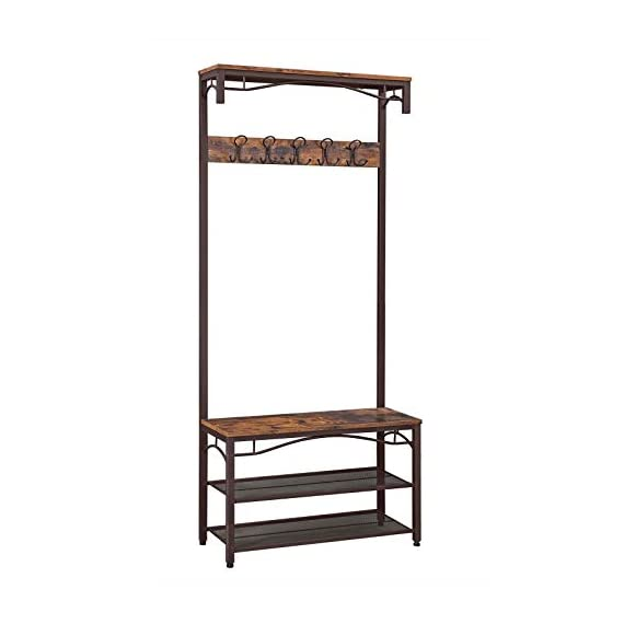 VASAGLE Industrial Coat Rack, 3-in-1 Hall Tree, Entryway Shoe Bench Accent Furniture Metal Frame Large Size UHSR45AX, Rustic Brown (Renewed) - WELCOMES YOU HOME: Eliminate the mess in your hallway with this smart coat shoe rack; perfect balance of clean lines, modern elegance and effortlessly rustic appeal EVERYTHING YOU NEED: After coming back home at the end of the day, just hang your coat, hat and scarves on the top 5 dual hooks, sit on the bench to remove your shoes and put them on the 2 metal mesh storage shelves STABLE AND SAFE: With 4 adjustable feet, the coat rack can stand perfectly stable on carpets or uneven floors; 2 anti-toppling straps are included to ensure safe use - hall-trees, entryway-furniture-decor, entryway-laundry-room - 41i5Y8oVx L. SS570  -