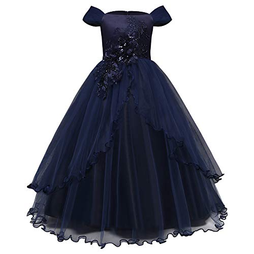 Meijunter Girls Dressing Gown, Child Kids Party Maxi Prom Party Ball Gown Dark Blue ()