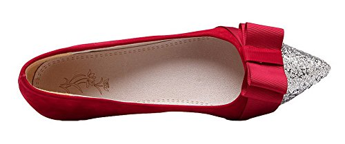 WeiPoot Pull Low Frosted On Red Solid Women's Pumps Heels Shoes OHH4qvgw