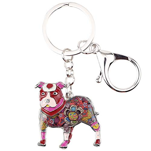 WEVENI Enamel Alloy Boston Pit Terrier Bull Dog Keychains Fashion Animal Jewelry for Women Girls Bag Charm Accessories Gifts (Red)