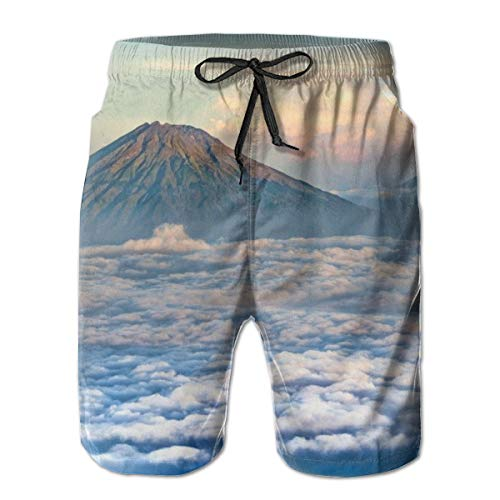 Landscape Volcano Central Java Sumbing Mountain Men's Swim Trunks Quick Dry Beach Holiday Party Swim Shorts White (Bigfoot Java)
