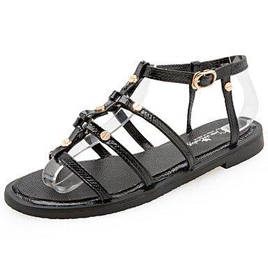 LvYuan Mujer Sandalias Confort Goma Verano Paseo Confort Hebilla Tacón Plano Negro Menos de 2'5 cms Black