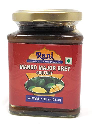 (Rani Major Grey Mango Chutney (Indian Preserve) 10.5oz (300g) Glass Jar, Ready to eat, Vegan ~ Gluten Free Ingredients, All Natural, NON-GMO )