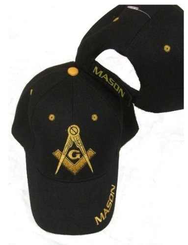 Freemason Embroidered Black Adjustable Hat Mason Masonic Lodge Baseball Cap