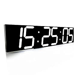 SHSEA Remote Control Jumbo Wifi Digital Led Wall Clock with Date, Temperature, Countdown for Home/Living Room (white)