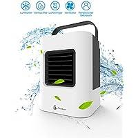 Luftkühler Ventilator Anbber Air Cooler mit Luftreiniger Befeuchter Wasserkühlung, Mini Kühlgerät ohne Abluftschlauch für Büro, zu Hause, Camping usw. (4-In-1, Weiß und Schwarz)