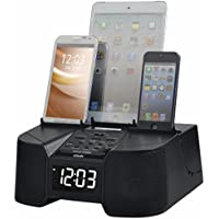 6 Port Smart Phone Charger with Bluetooth, Alarm, Clock, FM Radio - Retail Packaging