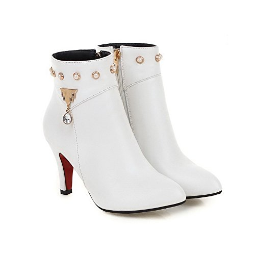 Women's White Boots AgooLar High Top Solid Heels Pu Low Zipper dzOZwqzcT