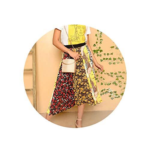 myeuphoria Elastic Waist Mixed Print Pleated Long Skirt Elegant Bohemian Mid Waist Colorblock Maxi Skirts,Multi,M