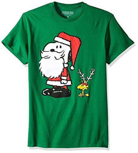Peanuts Men's Santa Snoopy and Woodstock Christmas T Shirt, Green L ()