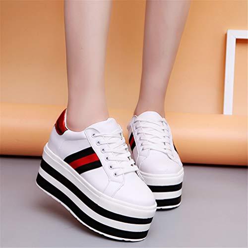 Blanco Alto de Zapatos la Mujeres Altura Plataforma Zapatos Femeninas Cuñas Aumentan de Las de Zapatillas Que de tacón Ocultos Deporte Bombas R0w6SAqx