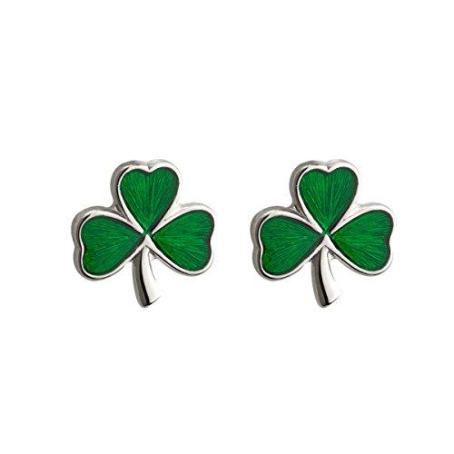 Failte Shamrock Earrings Sterling Silver Studs & Enamel Irish Made