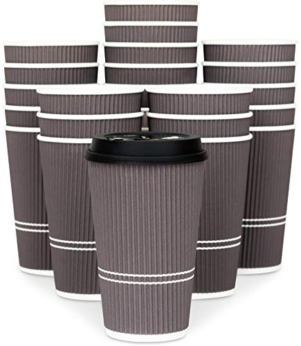 Glowcoast Disposable Coffee Cups With Lids - 16 oz To Go Coffee Cup (80 Pack). Large Travel Cups Hold Shape With Hot and Cold Drinks, No Leaks! Insulated Ripple Cups Protect Hands, No Sleeves needed.]()
