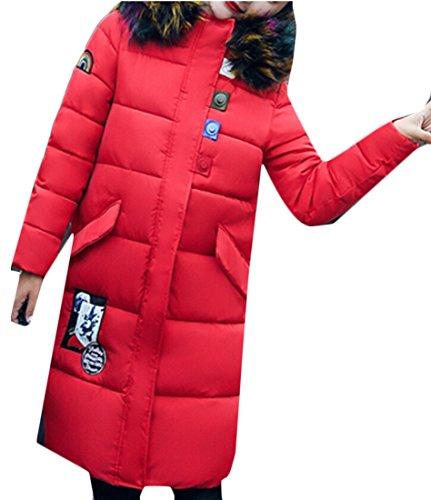 hooded amp;W M Coats amp;S Red Fur Down Sleeve Collar Long Women's Faux RUp5xU8qw