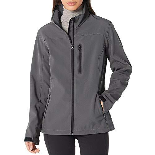 7Goals Softshell Jacket Women Outdoor Waterproof Windproof Fleece Lined Winter Coat,Grey,XL(Chest: 44.9