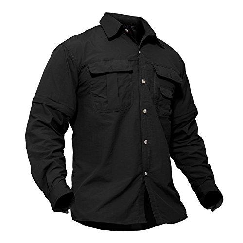 Nylon Ripstop Tactical Shirt - TACVASEN Unisex Lightweight Casual Comfy Battle Ripstop Short Long Sleeve Shirt Black