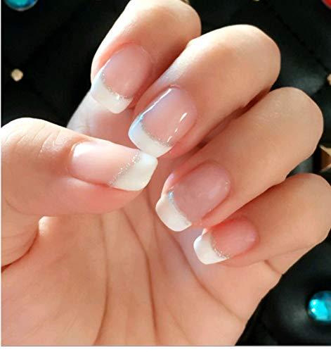 (24 PCS Set Silver Line Pink French Short Chic False Nails Fake Nail Tips Nail Art Manicure with Glue and Adhensive Tab)