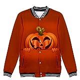 FIN86 Women Halloween Horror Print Party Long Sleeve Pullover Hooded Baseball Jacket Orange