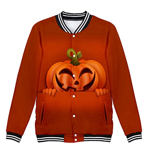 KLFGJ Women Halloween Coats Pumpkin Printed Graphic Sweatshirt Casual O-Neck Pullovers Tops ()