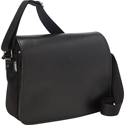 ROYCE Lightweight Luxury Laptop Messenger Bag in Genuine Saffiano Leather, Black