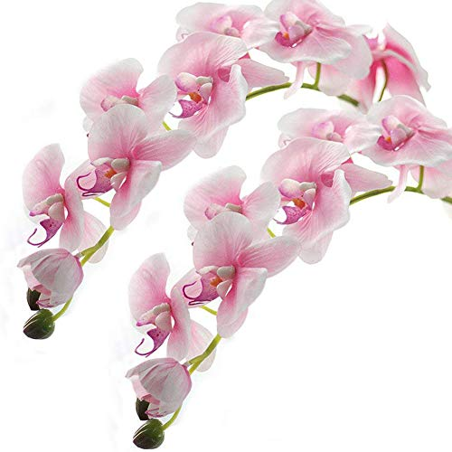 Meiliy 2pcs 11 Heads Pink Artificial Phalaenopsis Flower Real Touch Butterfly Orchid Flower Latex Orchids for Home Decoration Wedding Centerpieces Decorative Artificial Flowers(with no vase) (Pink Orchid Flower)