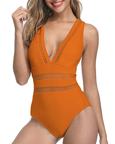 (Tempt Me Women 1 Piece Plunge Monokini Sexy Hollow Out Swimsuits Bathing Suit Orange S)