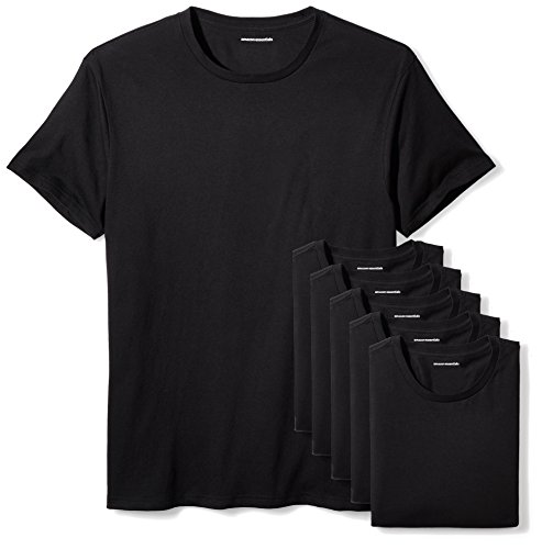 Amazon Essentials Men's 6-Pack Crewneck Undershirts, Black, X-Large ()
