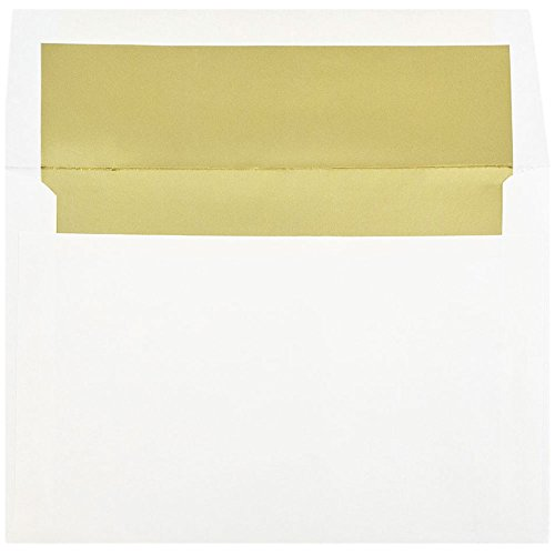 - JAM PAPER A8 Foil Lined Invitation Envelopes - 5 1/2 x 8 1/8 - White with Gold Foil - 50/Pack