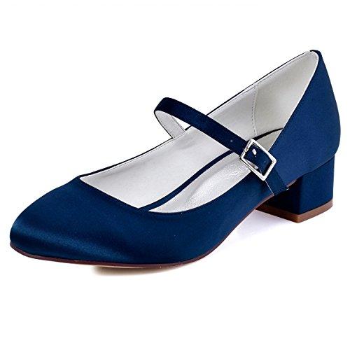 ElegantPark Mujeres Cerrado Toe Chunky Talón Mary Jane Bombas Satén Zapatos de vestir de noche azul oscuro