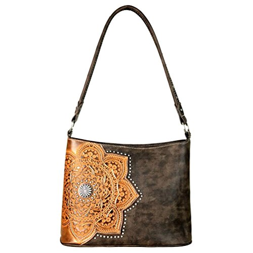 Trinity Ranch by Montana West Tooled Leather Collection Handbag Hobo (Brown Ranch)