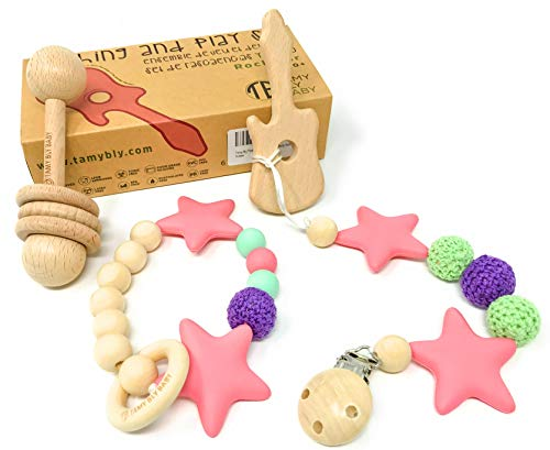 Tamy Bly Natural Wood & Silicone Pacifier Clip Teether, Teething Bracelet, Wooden Teethers, Wood Teething Rings, Updated Assembled Wood Teething Rattle|5pcs Baby Teether Toys Set| BPA Free|Rockztar