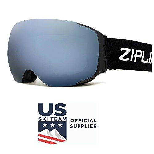 Us Olympic Ski Team (Zipline Podium Ski / Snowboard / Snowmobile Goggles - No Fog - Interchangeable Magnetic Lenses - US Freestyle Ski Team Official Supplier - 10 Lens Options (Black Frame, Gray Lens/Silver Finish))