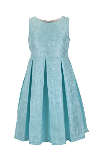 Emma Riley Girls' Jacquard Printing Dress for Party Wedding Birthday 12 Lake - Jacquard Dress Party