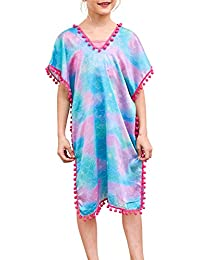 Play Tailor Mermaid Cover Up for Girls Swimsuit Cover Ups Purple Aqua with Pom