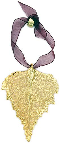 Curious Designs Birch Leaf Ornament - Real Leaf Dipped in Gold, Approx Two Inches -