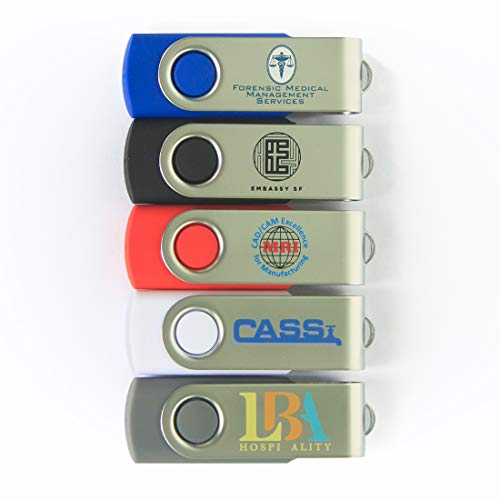Possibox Custom Swivel USB Flash Drive 128MB Promotional Product Personalized with Your Logo - Bulk USB 2.0 - Black 200 Pack