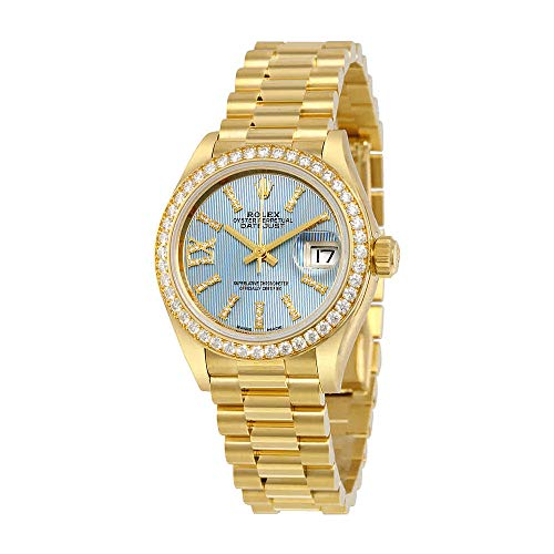 Rolex Lady-Datejust 28 Cornflower Blue Dial 18K Yellow Gold President Automatic Ladies Watch 279138BLSRDP